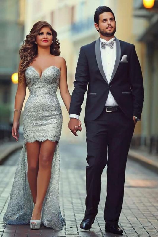 Black Slim Fit Shawl Lapel Prom Suits | Simple Tuxedos 2 Pieces Outfits