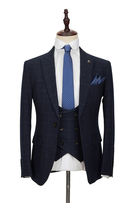 Formal Dark Navy Plaid Peak Lapel 3 Piece Men's Suit with Double Breasted Waistcoat