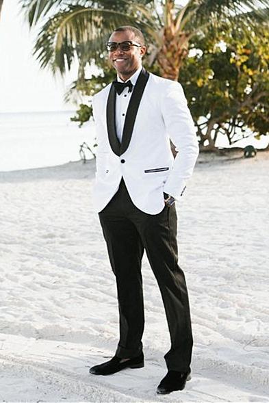 Two Pieces White Shawl Lapel Wedding Men Suit