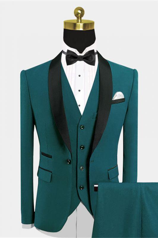 Popular Green Prom Suit | Black Satin Shawl Lapel Wedding Suits - Wally