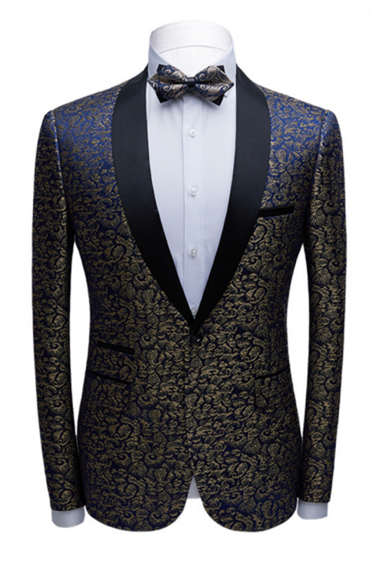 Modern Black Satin Shawl Lapel Wedding Tuxedos | Gold Jacquard Blue Men's Suits for Prom