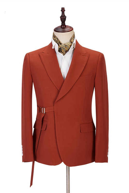 Giovanni Newest Peaked Lapel Slim Fit Orange Men Suits for Casual
