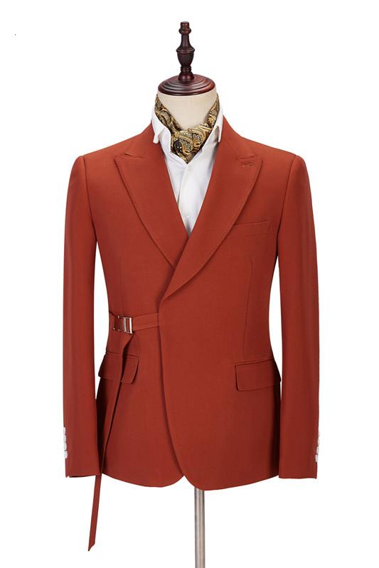 Giovanni Newest Peaked Lapel Best Slim Orange Men Suits for Casual