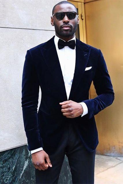 Tanner Velvet Peaked Lapel Best Slim Prom Men Suits