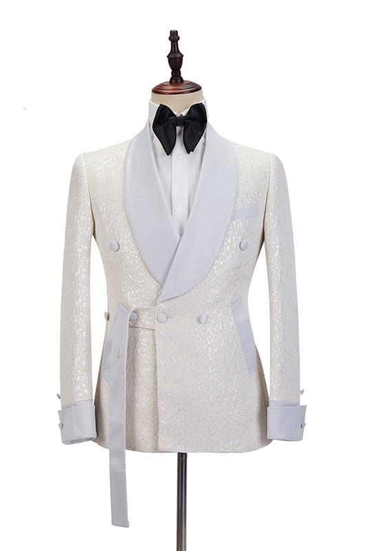 Patrick Off White Shawl Lapel Slim Fit Jacquard Bespoke Wedding Suits