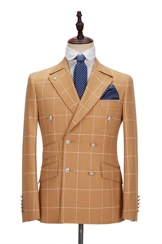 Peak Lapel Flap Pockets Double Breasted Plaid Orange Men's Business Suit for Formal