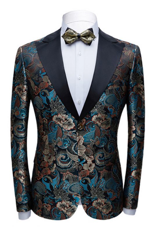 Multicolors Peak Lapel with Black Satin Wedding Tuxedos | Vintage Jacquard Men's Prom Suits
