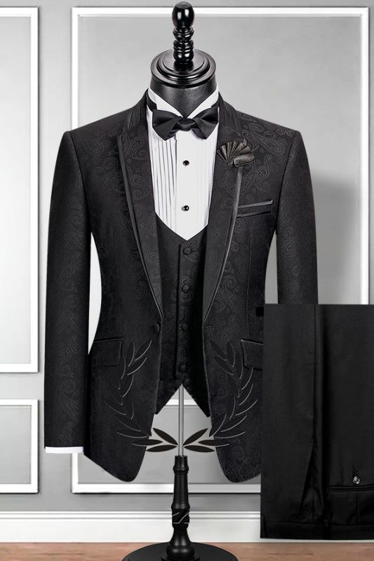 Classic Notch Lapel Black Groom Suit | Slim Fit Jacquard Wedding Tuxedos Cheap