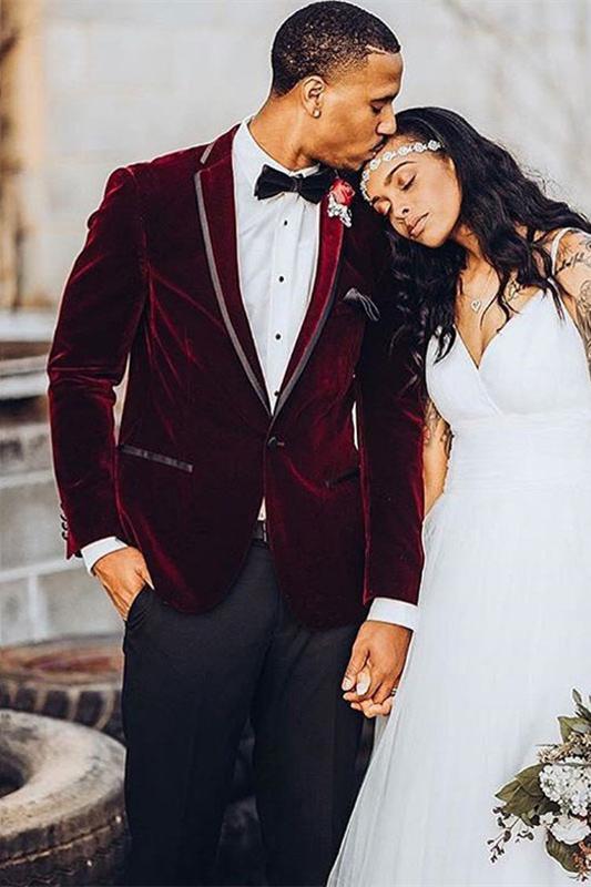 Benjamin Burgundy Velvet One Button Wedding Groom Suit for Men