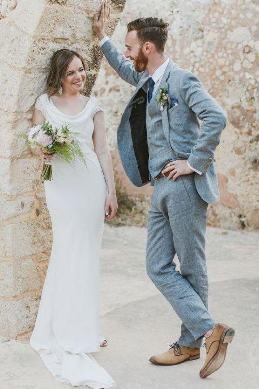 Latest Summer Blue Linen Beach Wedding Suits | Bespoke Men Casual Male Beach Groom Tuxedo