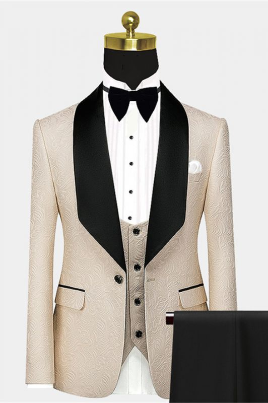 Stylish Light Champagne Prom Suit   Black Large Lapel Jacquard Wedding Tuxedos - Wayn