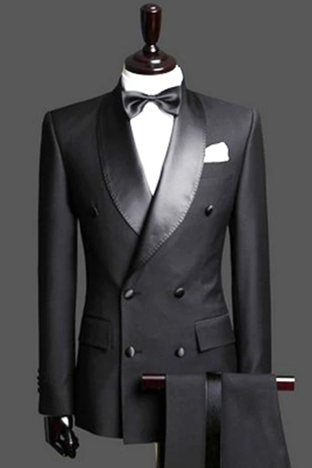 Black Double Breast Wedding Suits Tuxedos   Satin Lapel 2 Pieces(Jacket pants) for wedding/prom