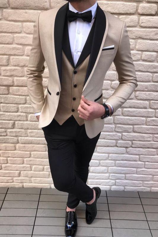 3 Piece Gold Champagne Wedding Suits | Black Satin Shawl Lapel Wedding Tuxedos