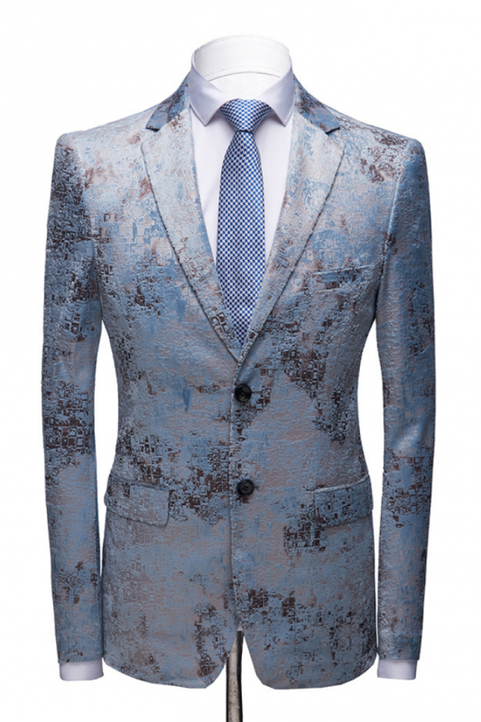 Printing Men's Prom Suits | Blue Wedding Tuxedos with White Pants