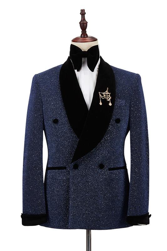 Ricardo Sparkle Dark Navy Black Shawl Lapel Double Breasted Wedding Suits