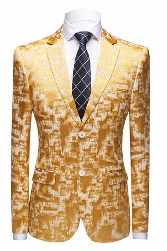 Special Printed Bright Gold Notched Lapel Men's Suits for Prom
