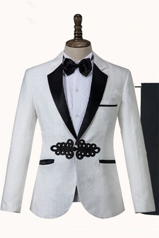 Devin White Jacquard Knitted Button Fashion Wedding Suit