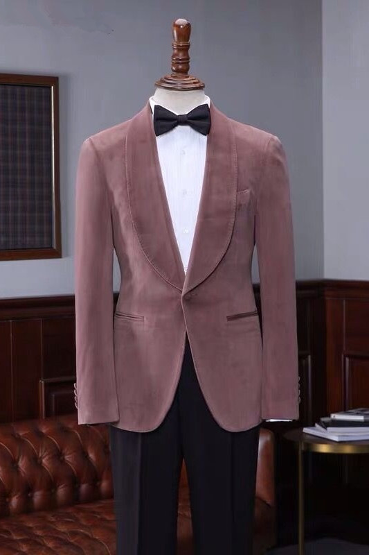 Oliver Fashion Pink Velvet Shawl Laple Men Suits for Wedding