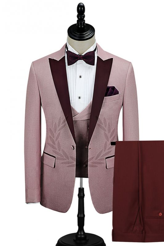 Burgundy Peak Lapel Men's Prom Suits | Latest Tailor Made Pink One Button Wedding Tuxedos
