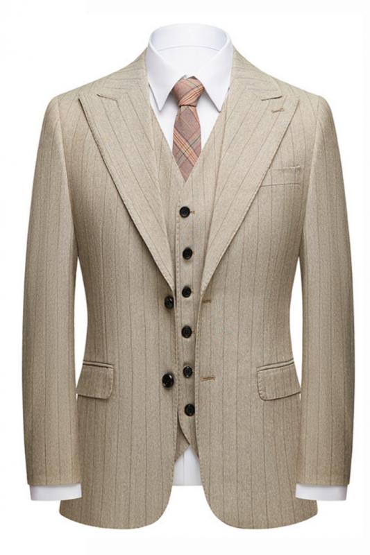 Gentle Khaki Striped Peak Lapel Formal Men's Suit for Business