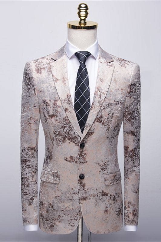 Light Brown Men's Prom Suits   Printing Wedding Tuxedos with White Pants
