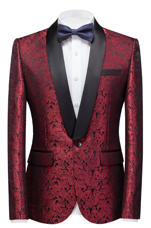 Bryce Ruby Slim Fit Jacquard Custom Made Wedding Men Suits