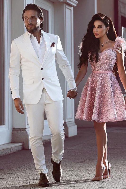 White Groom Tuxedos | Glamorous Wedding Suits for Men 2 Pieces