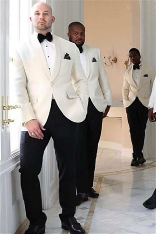 Julian White One Button Shawl Lapel Groomsmen Suits Online