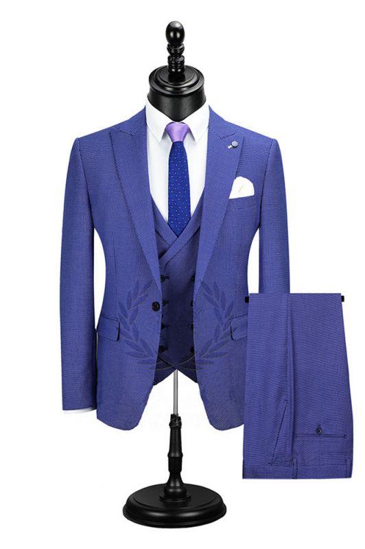 Jaiden Blue Peaked Lapel Slim Fit Men Suits Online