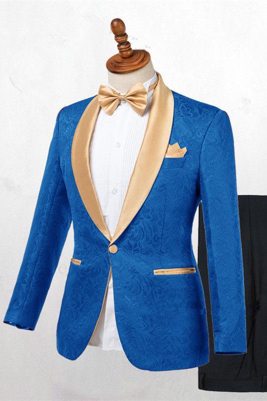 Caden Ocean Blue Jacquard Slim Fit Wedding Suits