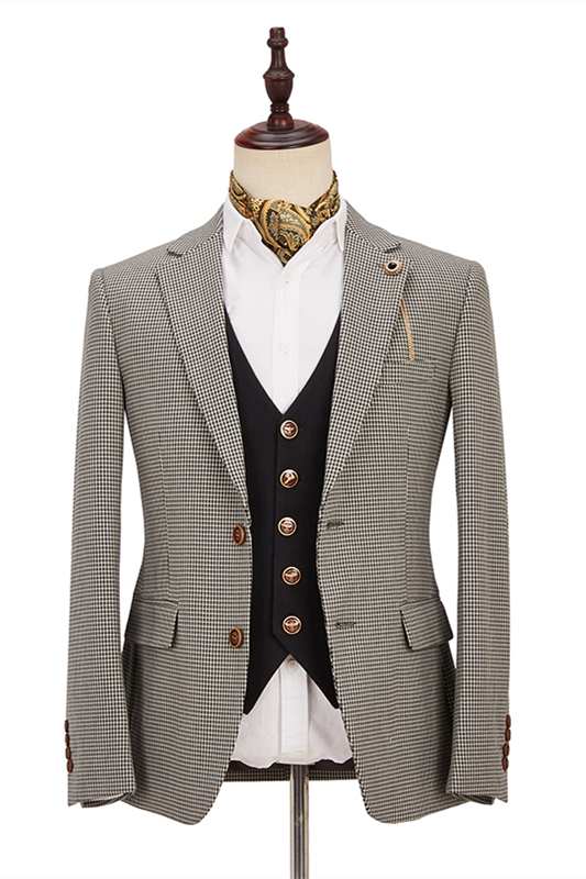 Light Khaki Notch Lapel 3 Piece Men's Suit with Dark Coffee Waistcoat