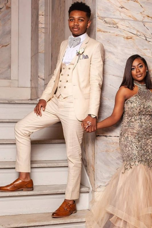 3 Piece Champagne Prom Suits | Double Breasted Waistcoat Wedding Tuxedo