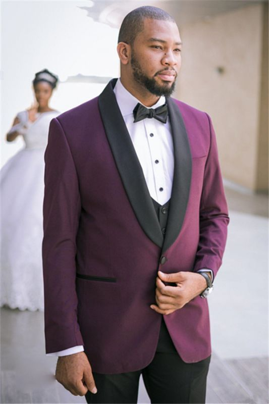 Charles Purple Three-Piece Slim Fit Wedding Suits with Black Lapel