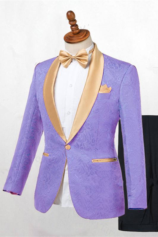 Lavender One Button Jacquard Fashion Slim Fit Wedding Tuxedo for Men