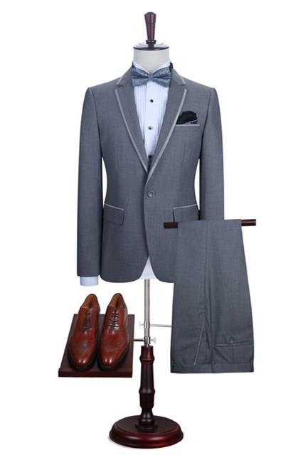 Damien Gray Fashion Slim Fit Notched Lapel Men Suits