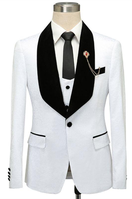 Fernando White Jacquard One Button Wedding Men Suits with Black Lapel