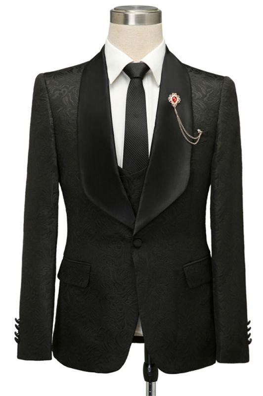 Bradley Stylish Black Jacquard Shawl Lapel Wedding Suits