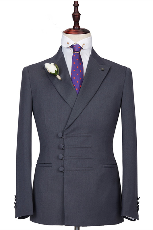 Camden Dark Gray Slim Fit Peaked Lapel Buckle Men Formal Suits Online