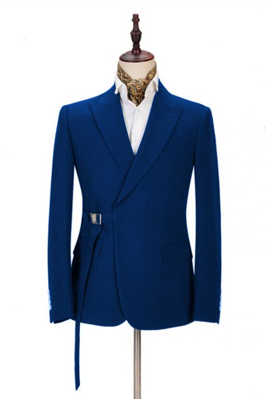 Latest Royal Blue Men's Casual Suit Online | Peak Lapel Buckle Button Groomsmen Suit for Formal