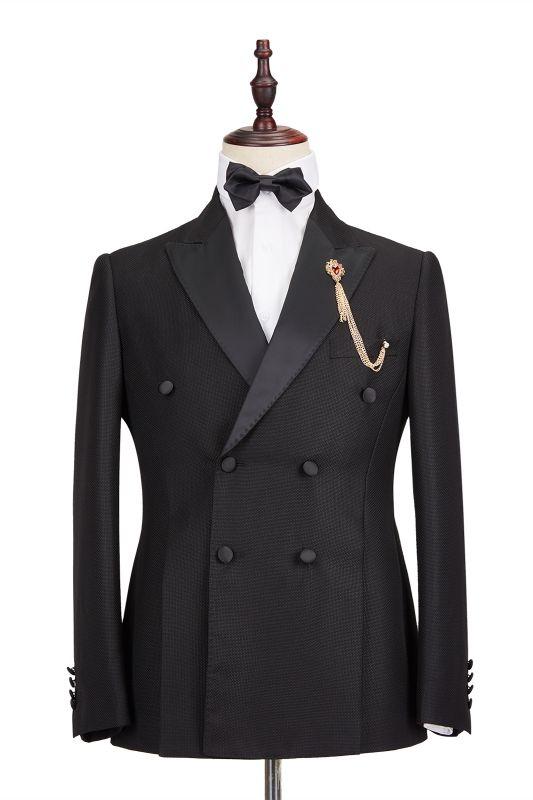 Classic Satin Peak Lapel Double Breasted Black Men's Wedding Suit Groom Tuxedos
