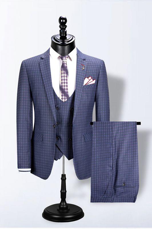 Mario Blue Notched Lapel Plaid Fashion Slim Fit Men Suits