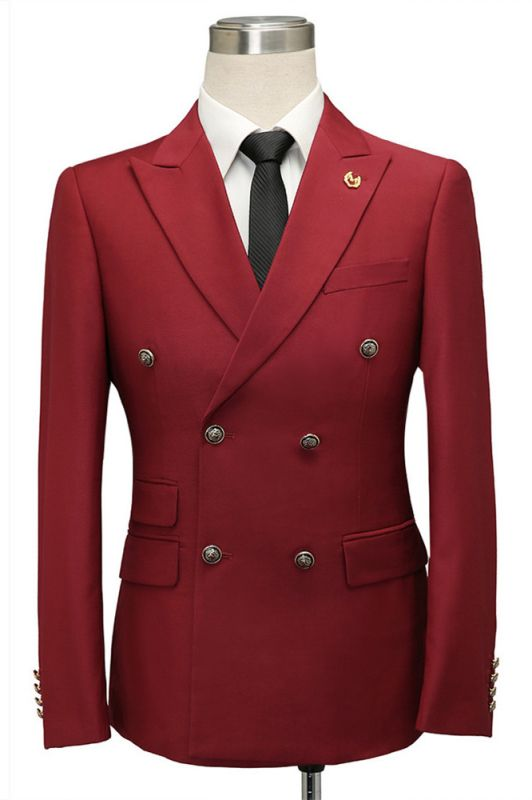 Asher Red Double Breasted Peaked Lapel Slim Fit Men Suits