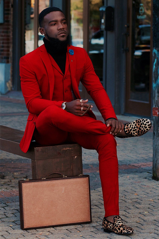 Jared Red Fashion Bespoke Prom Men Suits with Notched Lapel