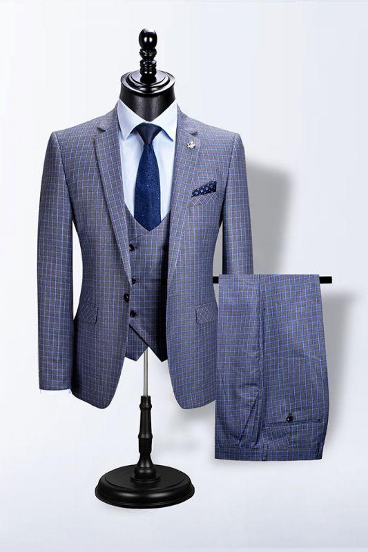 Jaylen Bespoke Plaid Notched Lapel Fitted Formal Business Men Suits