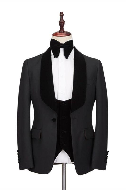 Claassic Stitching Velvet Shawl Lapel Black One Button Men's Formal Wedding Suit Tuxedos Online