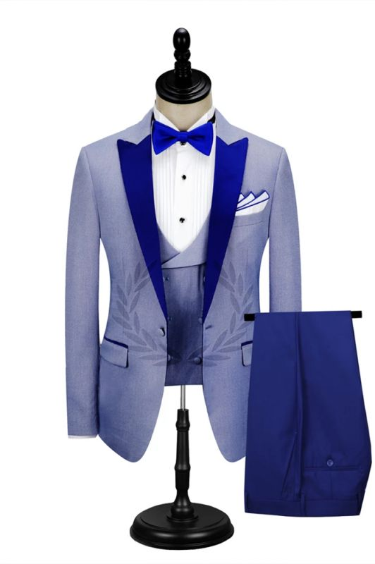 Royal Blue Peak Lapel Men's Formal Suit | Cheap Prom Suits Online