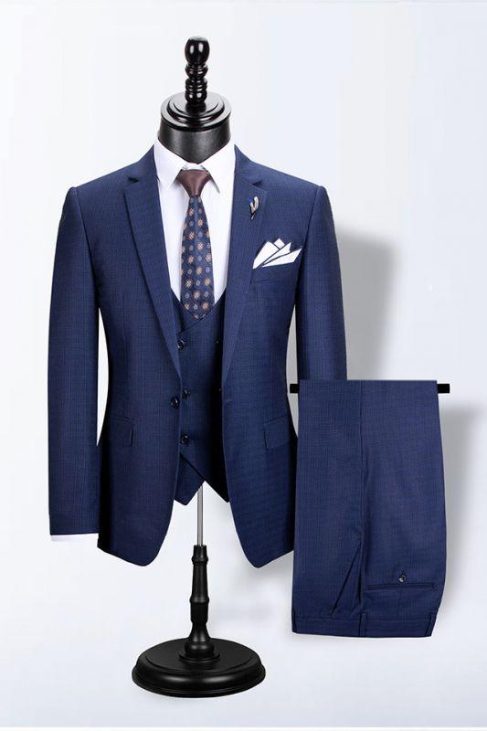 Peter Navy Blue Slim Fit Plaid Fashion Men Suits for Business