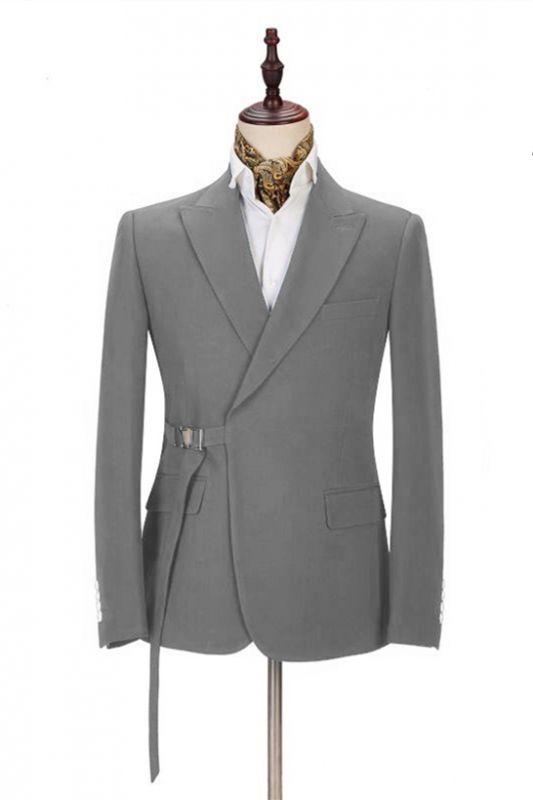Elegant Dark Gray Men's Formal Suit | Buckle Button Suit for Groomsmen