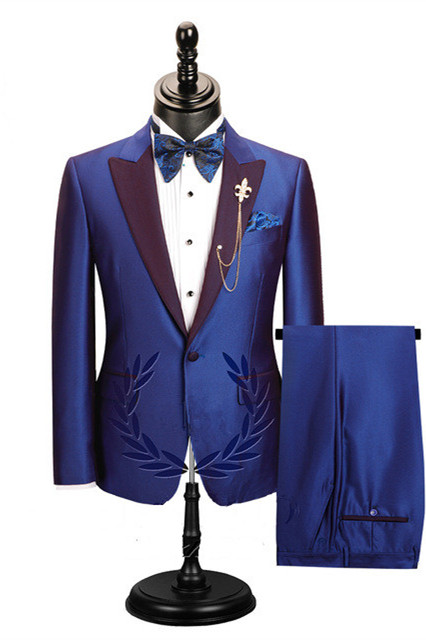 Wesley Blue Peaked Lapel Cheap Men Suits for Prom