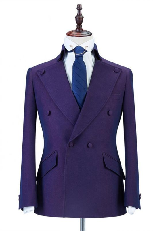 Marco Purple Peaked Lapel Double Breasted Fashion Men Suits Online